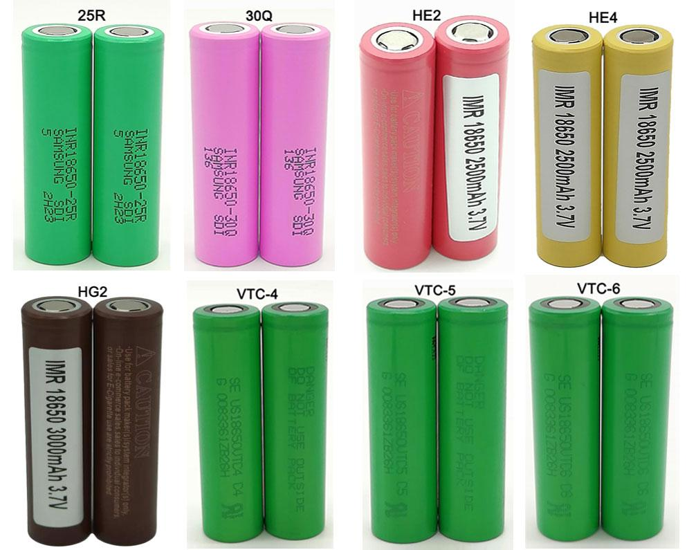 50pcs 18650 Batteries Battery Rechargeable Lithium 35A Discharge Flat Vape Box Mods 25R 30Q HE2 HE4 HG2 VTC4 VTC5 VTC6 e-cigarette yocan wax
