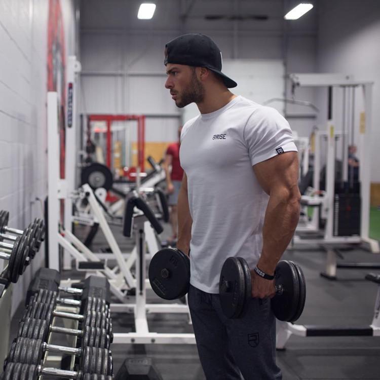 Homens camisetas Moda Verão Workout Impresso Carta Bodybuilding Camiseta Homens ginásio O-Neck Mostrar Muscle