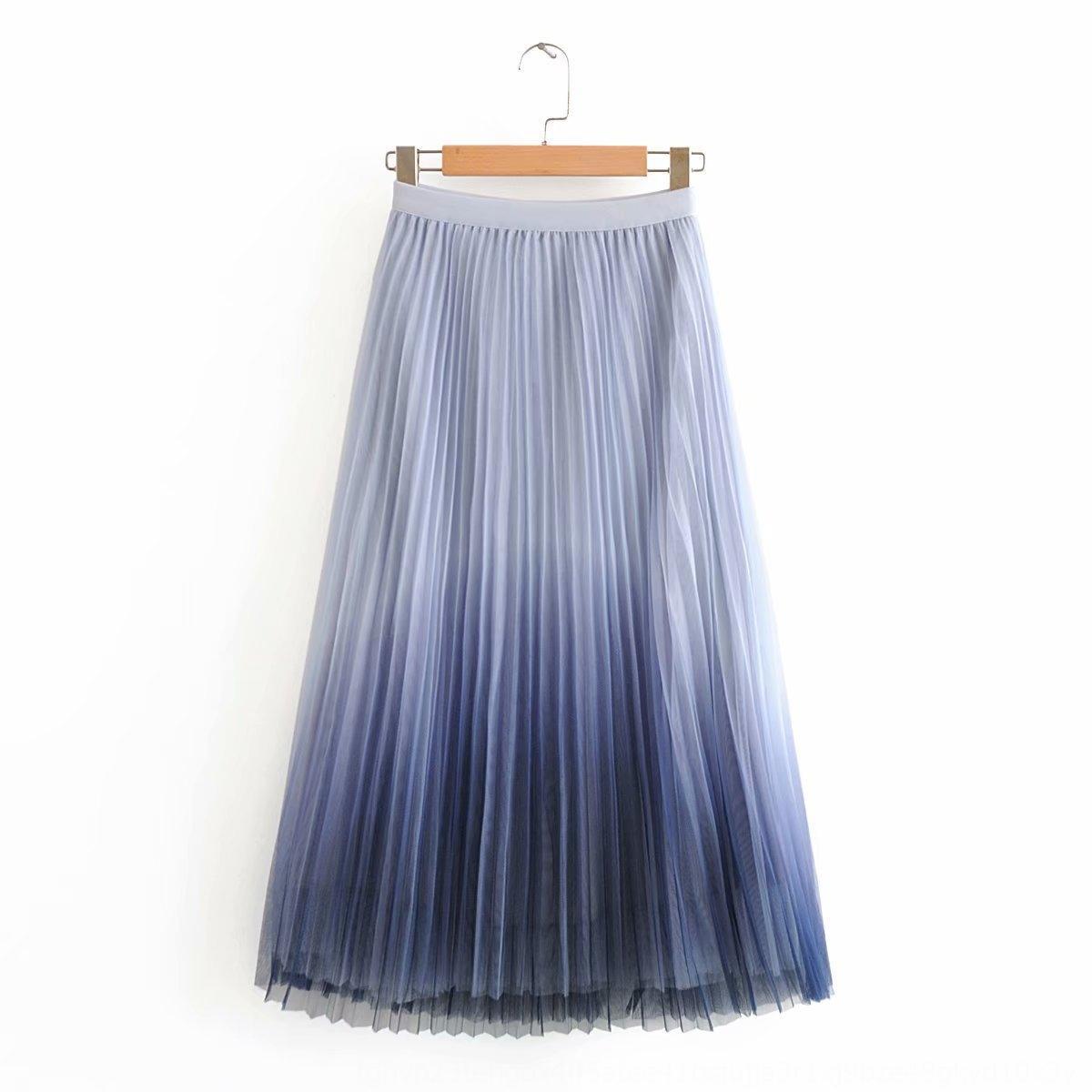 di nS9dL donne coreane 2020 di estate pantaloni gonna a pieghe nuovi media lunghezza vita alta sfumatura di colore di maglia plissettato overskirt C7923