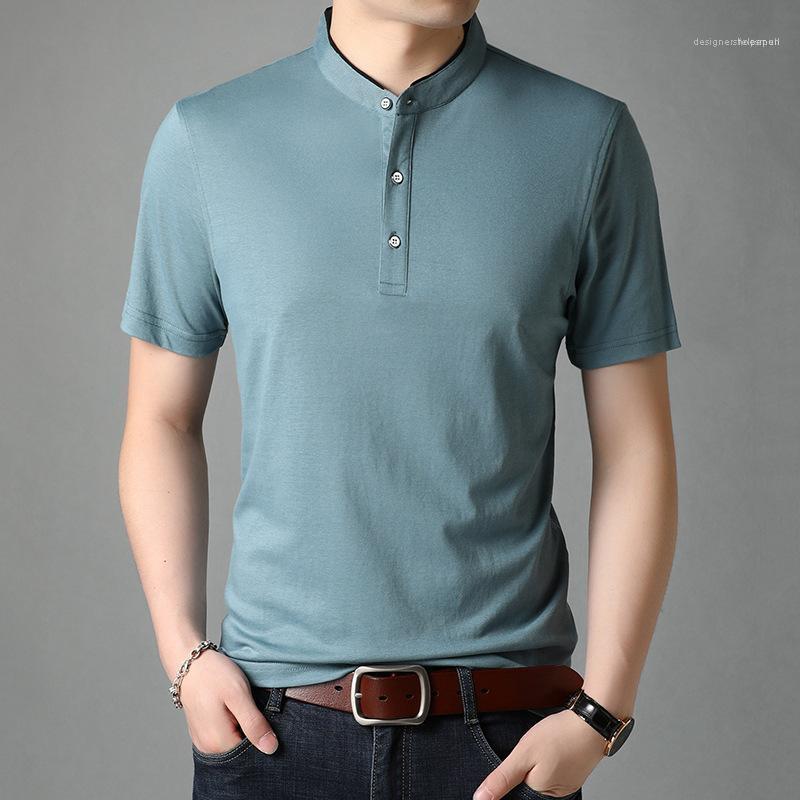 Erkek Katı Renk İş Örme Tişört Yaz Casual Yaka Boyun Katı Renk Tees Homme Tasarımcı İnce Üst