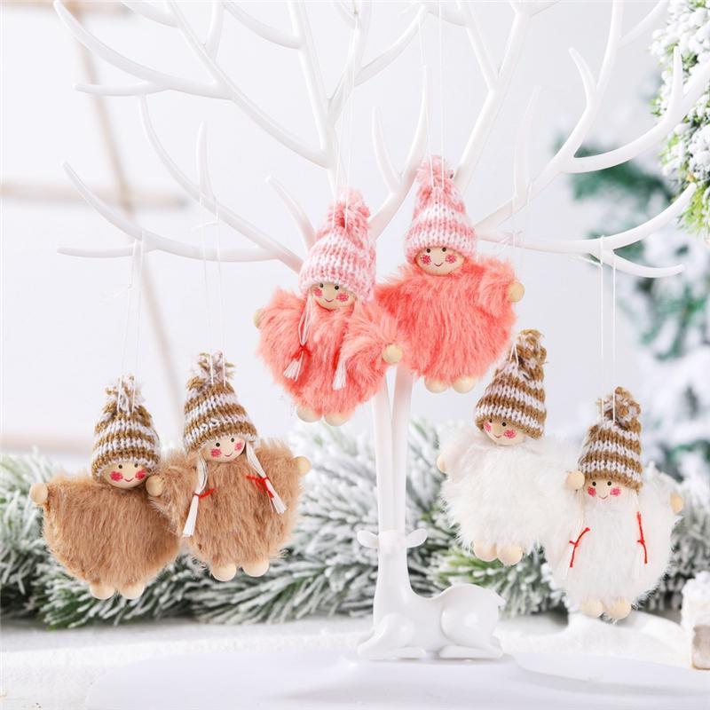 Weihnachtsbaum Anhänger Netter Mantel-Jungen-Mädchen-Puppe Set hängende Anhänger Weihnachtsbaum Ornamente Fensterdekoration JK2008PH
