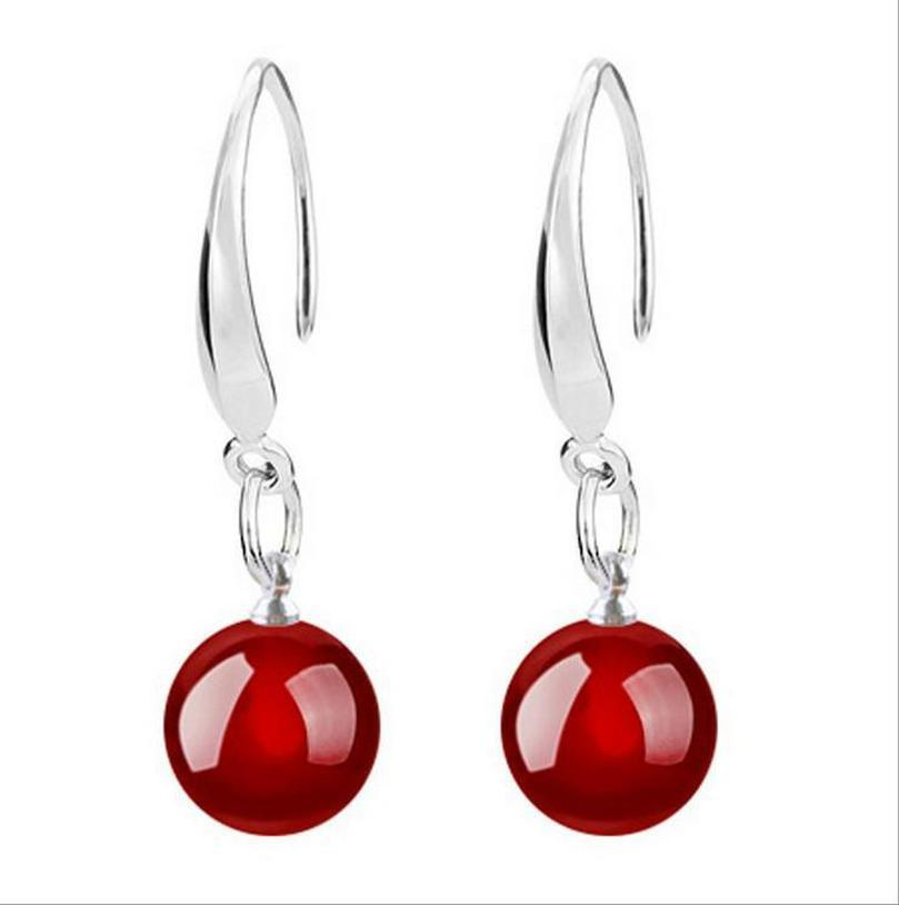 Ohrringe Schwarz Rot 925 neue Ohrringe Silber Qualität Sterling Hohe Achat-Tropfen hairclippers2010 gPPCo