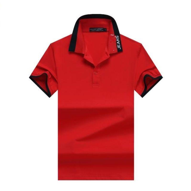 Watermelon Red Uomo Stampato lettere Dichromatic Collare manica corta T-shirt