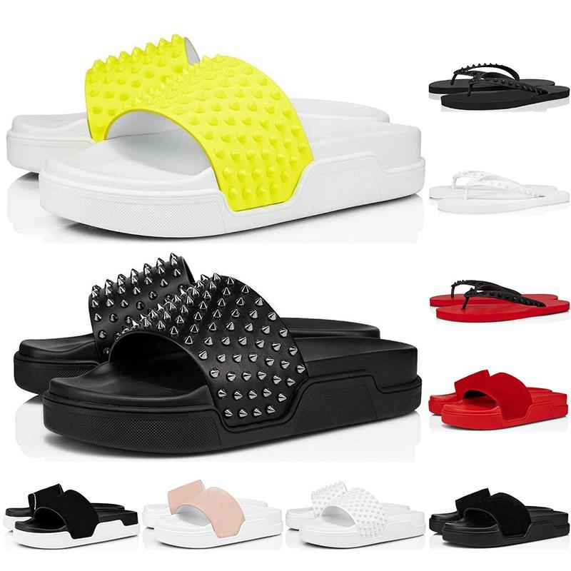 Christain Louboutin 2020 homens moda chinelos picos de fundo chinelos de verão vermelhas pretas lâminas amarelo branco triplos abrigar homens exteriores sandálias TAMANHO 38-46