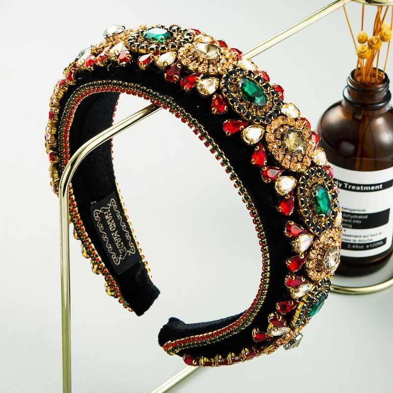 Kadın El Yapımı Çok Renkli Yapay elmas yastıklı Sünger hairband için 2020 Barok Kafa Kadınlar Tam Geometrik Kristal Bantlar