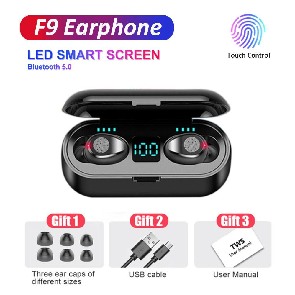 Wireless Earphone Bluetooth V5.0 F9 TWS Headphone Touch Control with LED Digital HiFi Stereo Earbuds 2000mAh Power Bank Headset With Mic