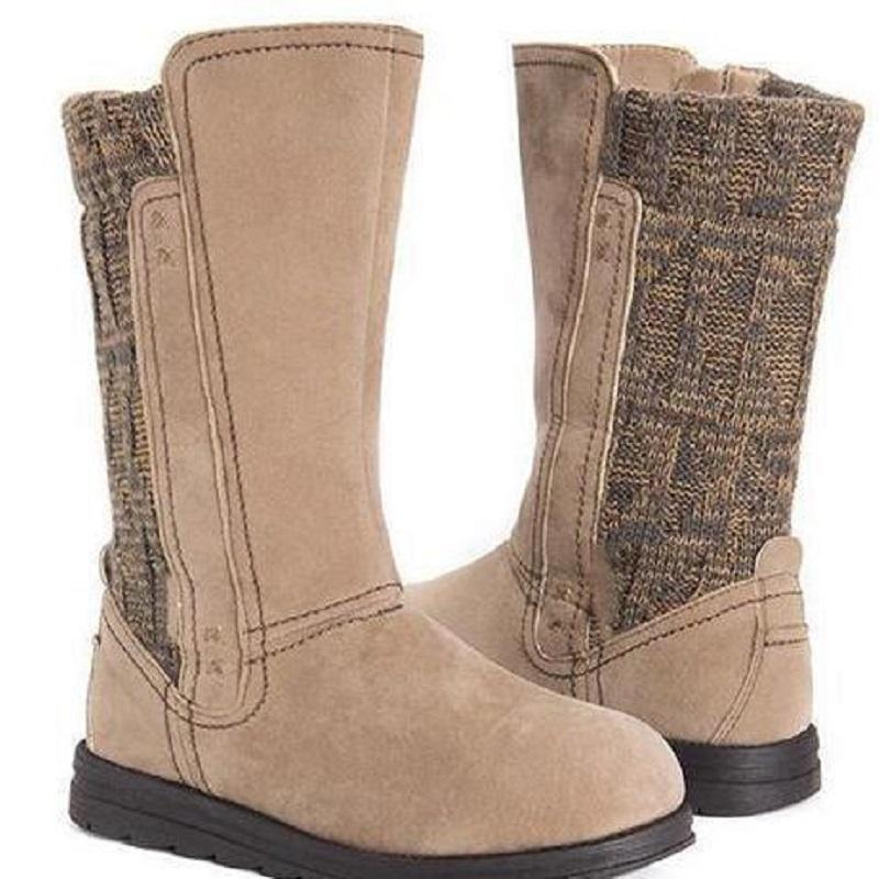 Autunno Inverno Donne metà polpaccio Boots Slip On appartamenti comodi dei pattini della piattaforma di lavoro a maglia di lana in pelle scamosciata Splice signore Stivali