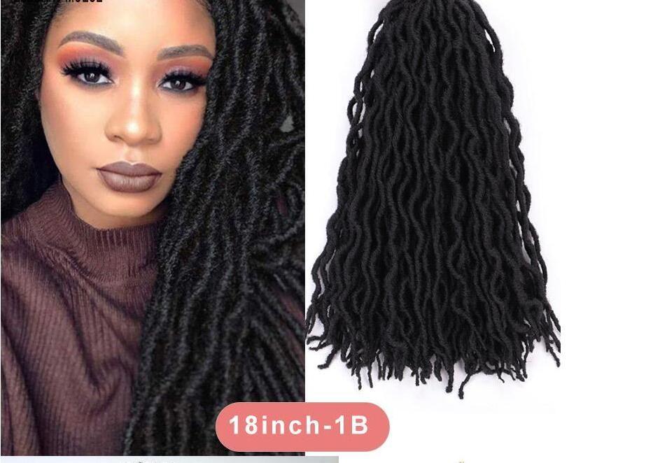 GoddessCrochet волосы 18 дюймов вьющихся Синтетического Long Black Soft Goddess Поддельный Locs крючок волосы Природных Волнистый Dreadlock Extensions волос
