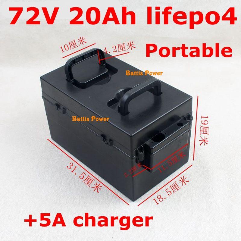 Décharge batterie 72V 100A 20AH Lifepo4 + 5A Chargeur 1500W remplacement acide plomb pour tricycle moto électrique
