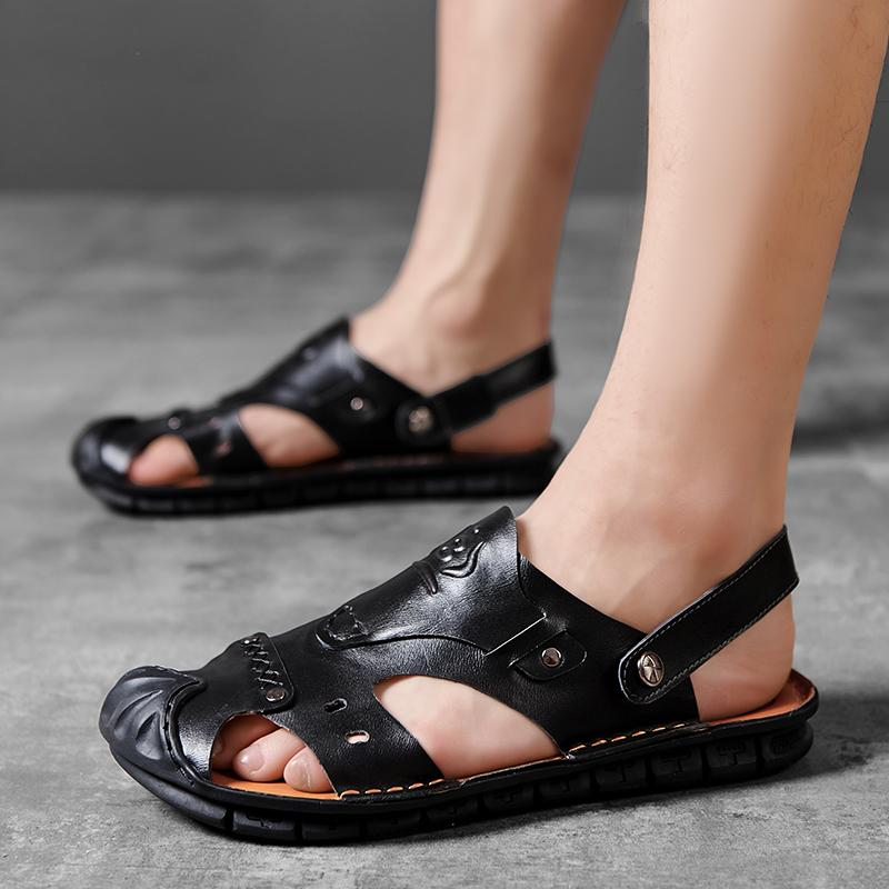 Лето Handmade Мужская обувь Сандалии Обувь на открытом воздухе Sandalias Hombre Zapatos De Hombre Chaussure Homme Тапочки Flats мужчин