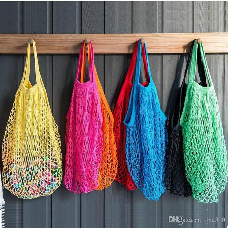 10 cores reutilizável de Cordas de compras Saco de mantimento Tote Shopper malha Fruit Bag Net tecido de algodão portátil saco de compras 100pcs T1I2335