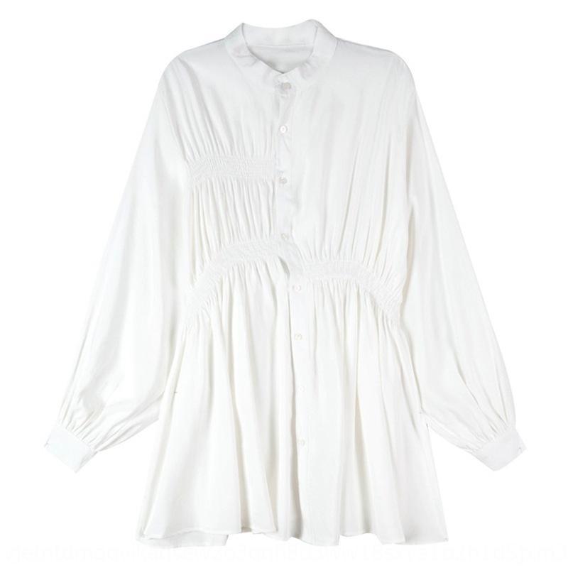 principios de la primavera nueva mitad de la longitud floja de vestir traje de cuerpo de manga larga elegante de la cintura ceñida camisa de la base de la falda de la camisa de las mujeres falda parche Qnk8s