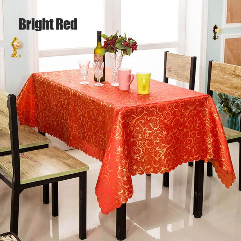 New Embroidered Gold Leaf Dinner Table Cover Red Blue Beige For Hotel Home Cafe Decor Wedding Party Favor Candy Table Cloth