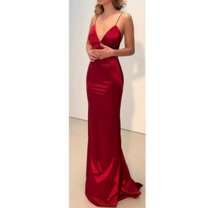 Deeptown Saten Parti Elbise Kadın Zarif Claret Kapalı Omuz BODYCON Backless Seksi Maxi Elbise vestidos V Yaka Yaz Elbise