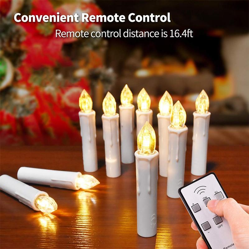 10pcs Led Candles Flameless Taper Candle Wireless Remote Control for Home Party Wedding Holiday Christmas Tree Decoration Y200109