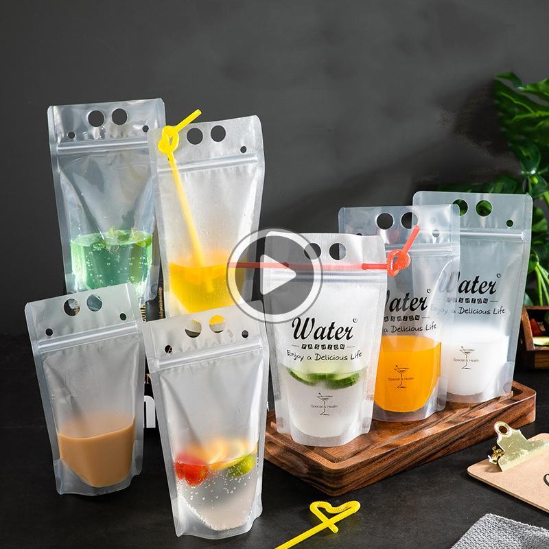Trasparente della guarnizione di auto Drink ag Wit Str Frosted Plastic voluti mediamente fai da te bevanda contenitore di bevande ag Fruit Party Jui bevande Pouc VT0437 Jim