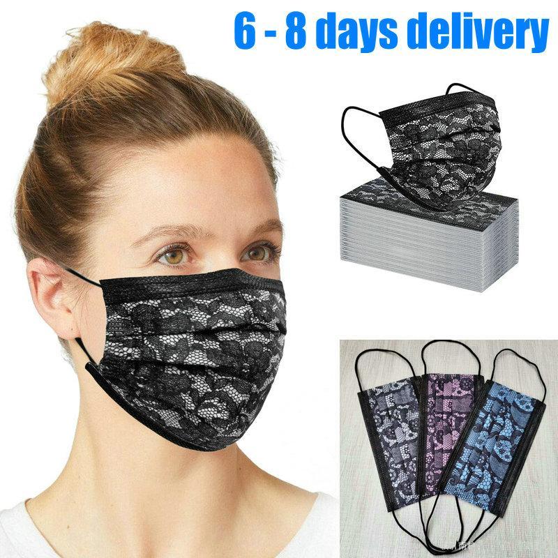 Druckspitze 10Pcs Einzelhandel packae Mode Einweg Schwarz Gesichtsmasken Maske Non-Woven-Maske Anti-Staub-Masken-3-Schicht Aktivkohle Schutz