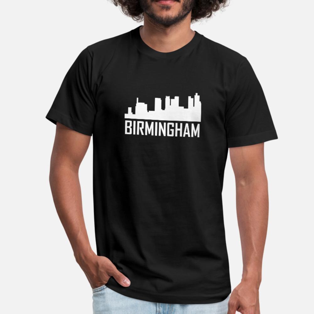 Birmingham Alabama horizonte de la ciudad camiseta La luz del sol luz del sol camiseta de los hombres del cuello de O Estándar vendimia del estilo de la moda de Nueva verano