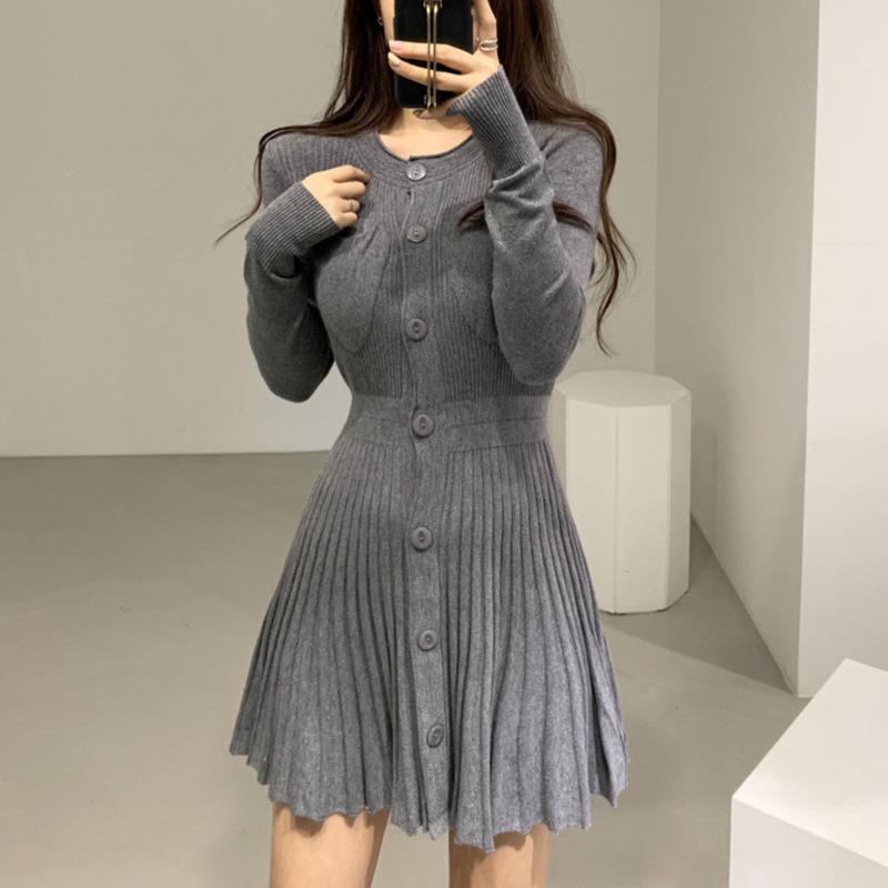 Casual Kleider Koreanische Einreiher Stricken Minikleid Frauen Herbst Winter Knöpfe Gestrickte Pullover Plissee Robbe Femme Vestidos