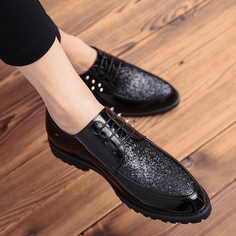 Мужская кожа бизнеса платье костюм обувь мужчина партии клуба бренд Баллок зашнуровать моды кожаной черной Формальной обуви для мужского
