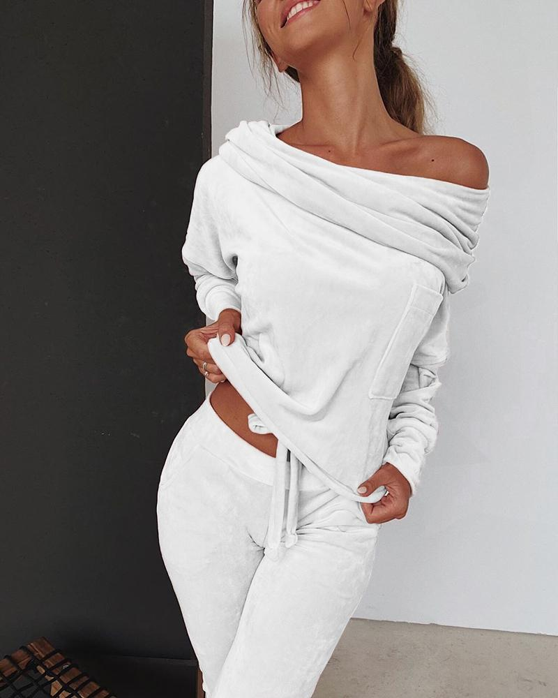 Donne 2 pezzi autunno insieme una spalla Felpa ansima gli insiemi di sport di usura Tuta Velvet Lounge Suit MX200812