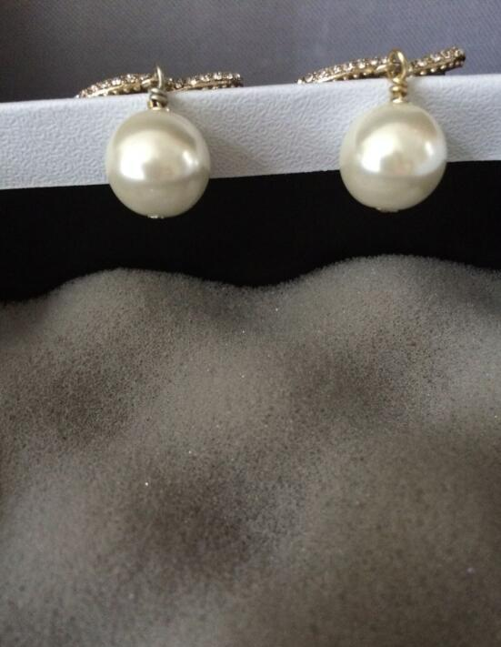 New!Fashion Earrings ! Drop women pearl earrings accessories jewelry Bead earrings with flannel bags for gift