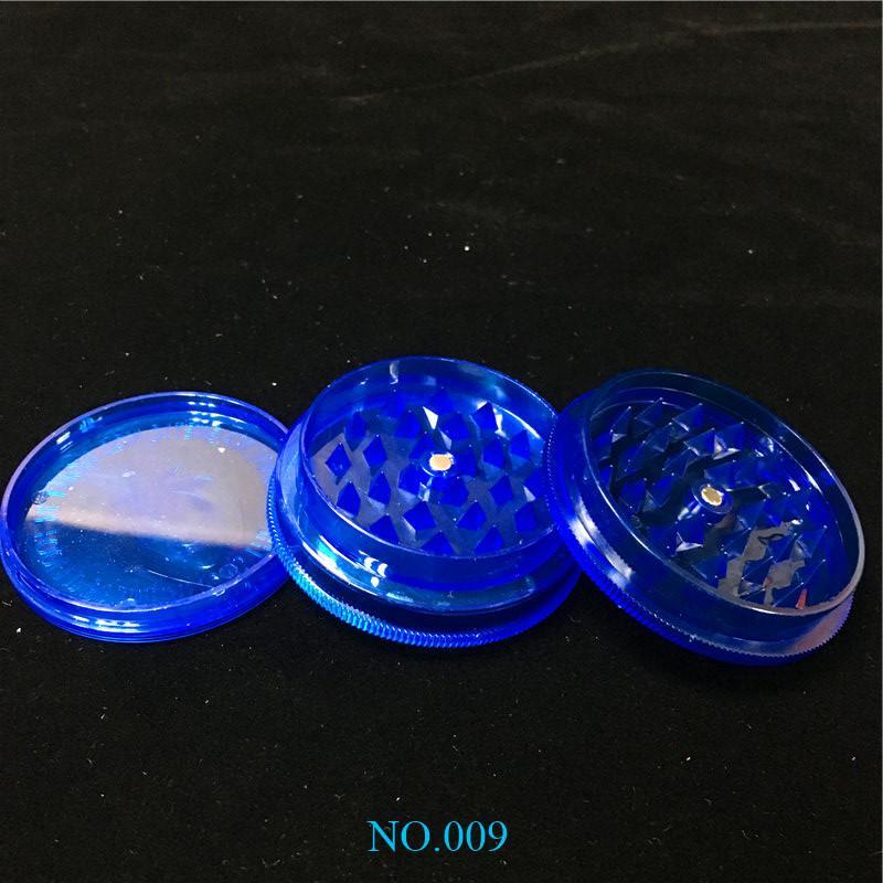 Barato 2,63 pulgadas de acrílico azul Molinillos de hierba 3-piezas de plástico Molinillos de hierba Humo Molinillos de hierba Fress Mundial II