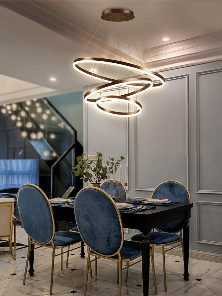 Toptan çok katmanlı uzaktan avize tavan avize parlak mutfak ışık fikstür ev l Modern avize kristal LED S-şekilli kontrol