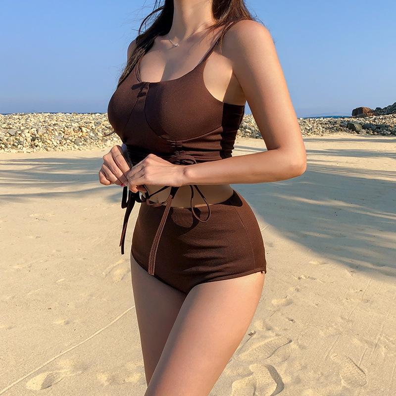2020 taille coréenne nouvelle couleur unie divisée femmes Bikini haut maillot de bain bikini sexy maillot de bain chaud pour les femmes printemps