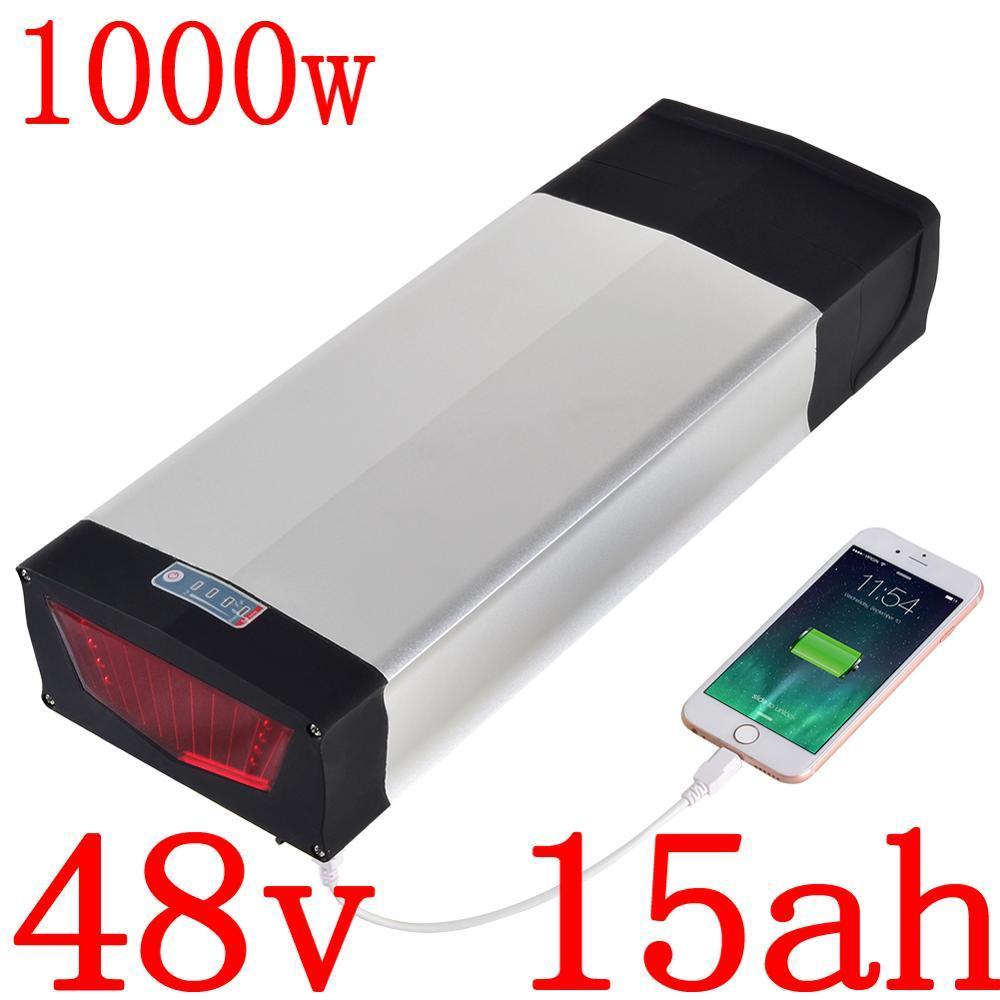 48V 15Ah elektrische Fahrrad-Batterie 15AH Lithium-Ionen-Pack mit 30A BMS und 54.6V 2A Ladegerät für 500W 750W 1000W Motor