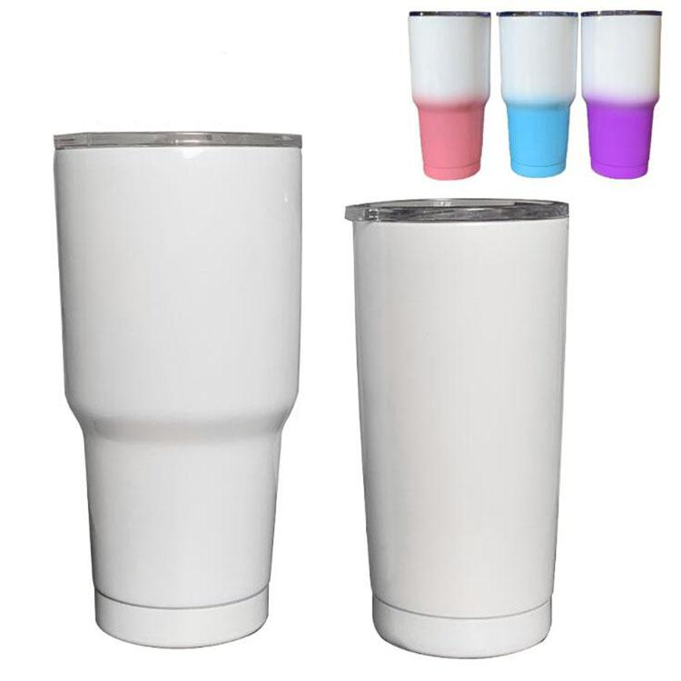 stainless steel tumbler 20 oz 30 oz blank sublimation car cup double wall vacuum insulated printing coffee cup travel mug with lid DIY gift