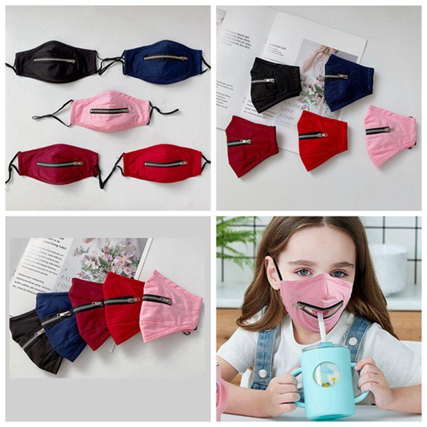 Zipper-Gesichtsmaske mit justierbarem Earloop Kinder Erwachsene Baumwolle Waschbar Wiederverwendbare Staubdichtes Schutzmundmaske Trinken HHA1563