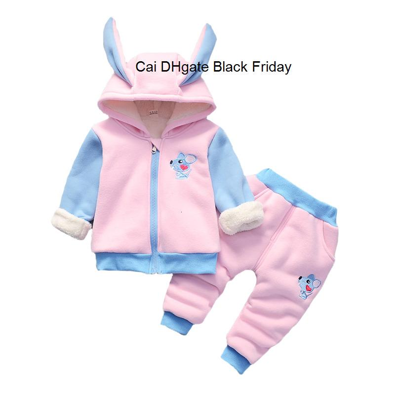 Cotton Velvet Thicken Warm Baby Clothing Set for Winter Toddler Boys Girls Cartoon Mouse Hoodies Coat Pants 2pcs Suit Clothes