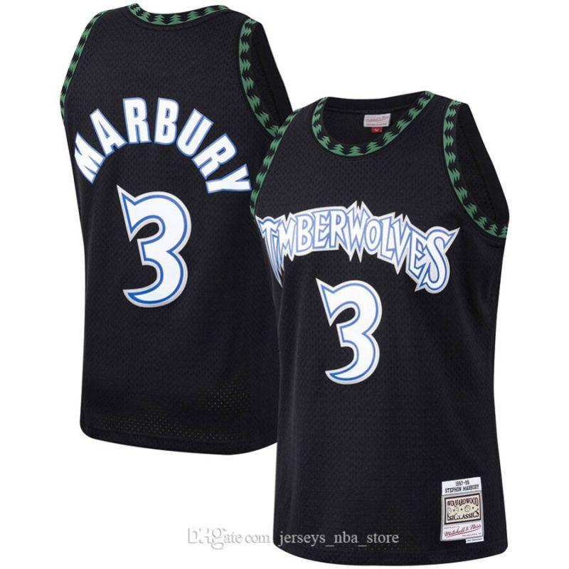 Hommes MinnesotaTimberwolves3 Stephon Marbury Mitchell Ness Black 1997-98 Hardwoods Classics Jersey Swingman Jersey