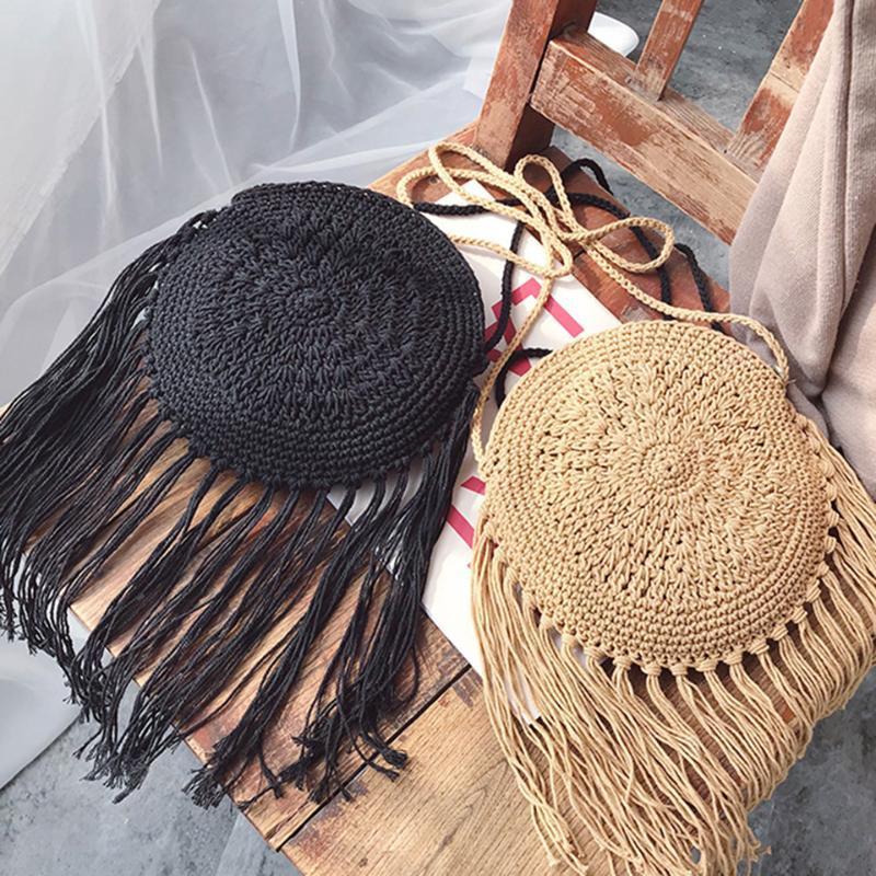Pequeno Messenger Bag Mulheres 2020 New Cotton Linha Hand-Woven Bag Declive Straw étnico vento Tassel Praia Verão Handbag # 15