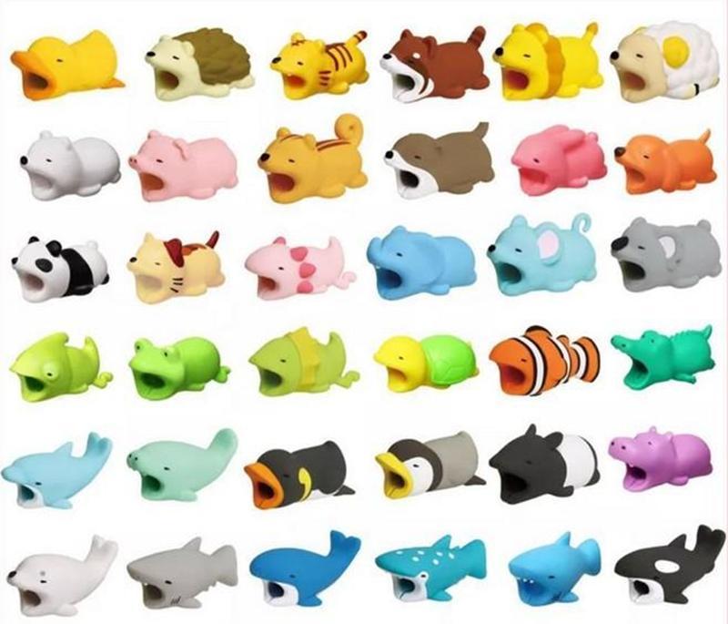 Симпатичные прикус для животных USB молния зарядное устройство Защита данных Мини-проволочный защитный кабельный шнур Аксессуары Творческие подарки 36 дизайнов