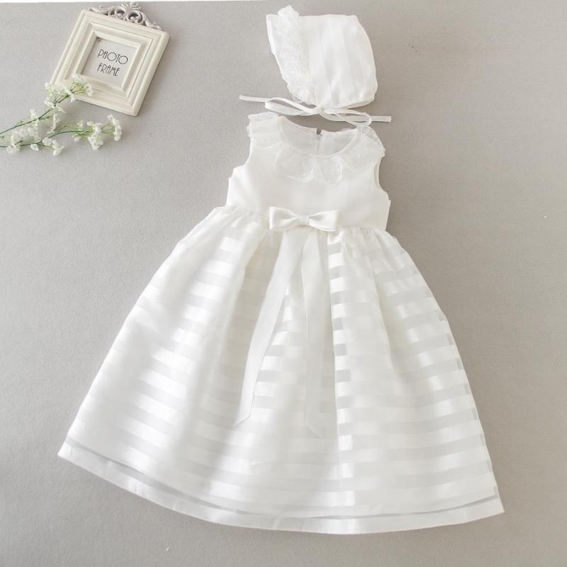 Recém-nascido Batismo vestido branco festa de aniversário para bebés primeira Wear Ruffle Lace Cap Menina da criança Batizado Vestidos 3-24M