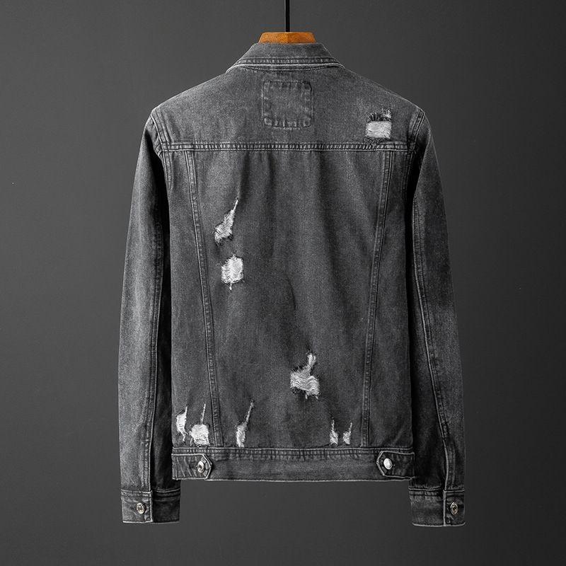 6euYc FmflS Herbst Marke Loch Denim Männer koreanische Jacke Art dünne Jacke Revers-Jeans-Mode für Männer Mantel kurz oben personalisierte