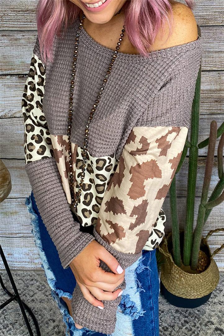 Mulheres Casual Designer camisola de malha Womens Leopard Patchwork camisola de manga longa O-Neck Moda Primavera Outono Roupa