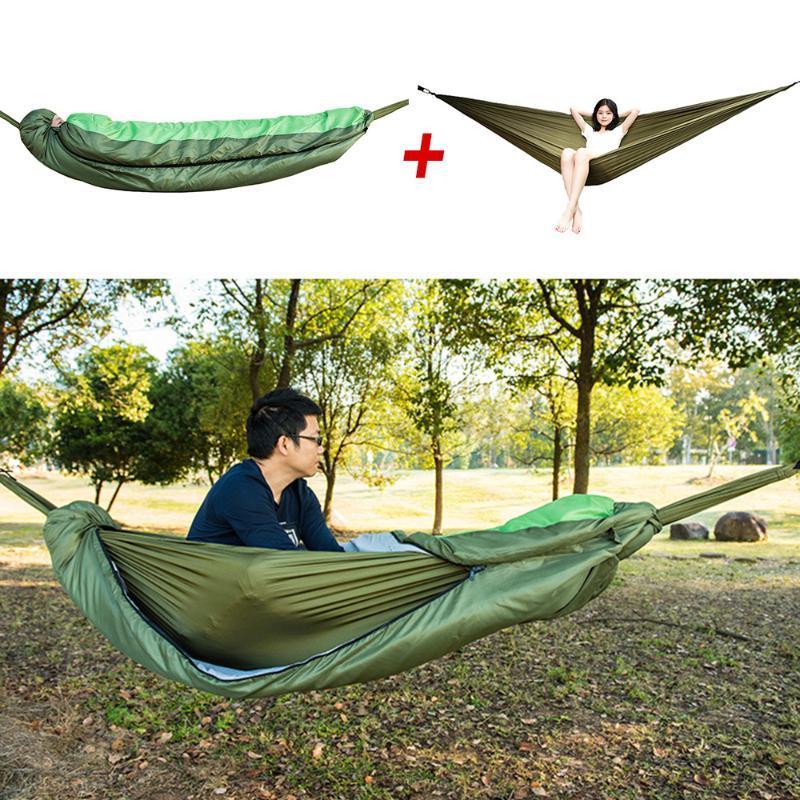 Sac de couchage camping en plein air Enveloppe à capuchon Sac de couchage Set-fonctionnelle amovible Muti Hamac Lazy Printemps Automne
