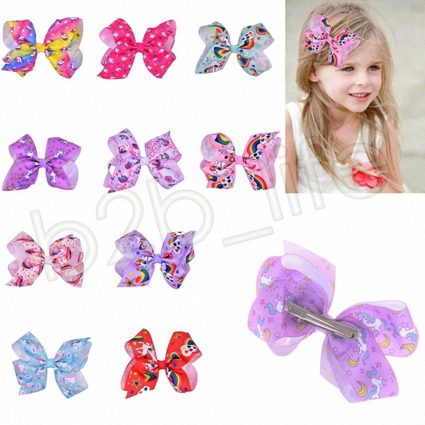 10 estilos niñas unicornio Barrettes arcos del pelo de dibujos animados del Bowknot del arco iris del Bowknot de las horquillas de Headwear Bobbles niños Hiar Accesorios GGA578 Pro xHBj #