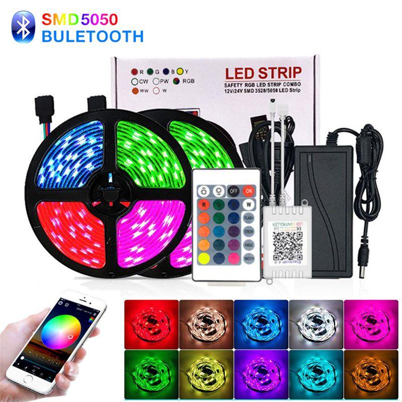 Lumières LED ultra-lumineuses LED Lumières de bande UV RGB 5M / 10M SMD5050 DC12V Flexible Les Strips Lumières 30led / Mètre 16Différent Couleurs statiques