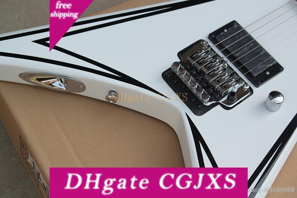 Guitarra El éTrica Branca Com 1 captador, Floyd Rose, Escala Em Rosewood, FERRAGENS Cromadas, Oferecendo Servi Cos Personalizados