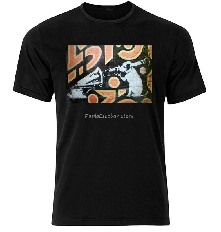 erkekler marka tişört yaz üst tee HMV Köpek Banksy - Grafik Pamuk Tişörtlü Kısa Uzun Kollu Kıyafet Tee Gömlek