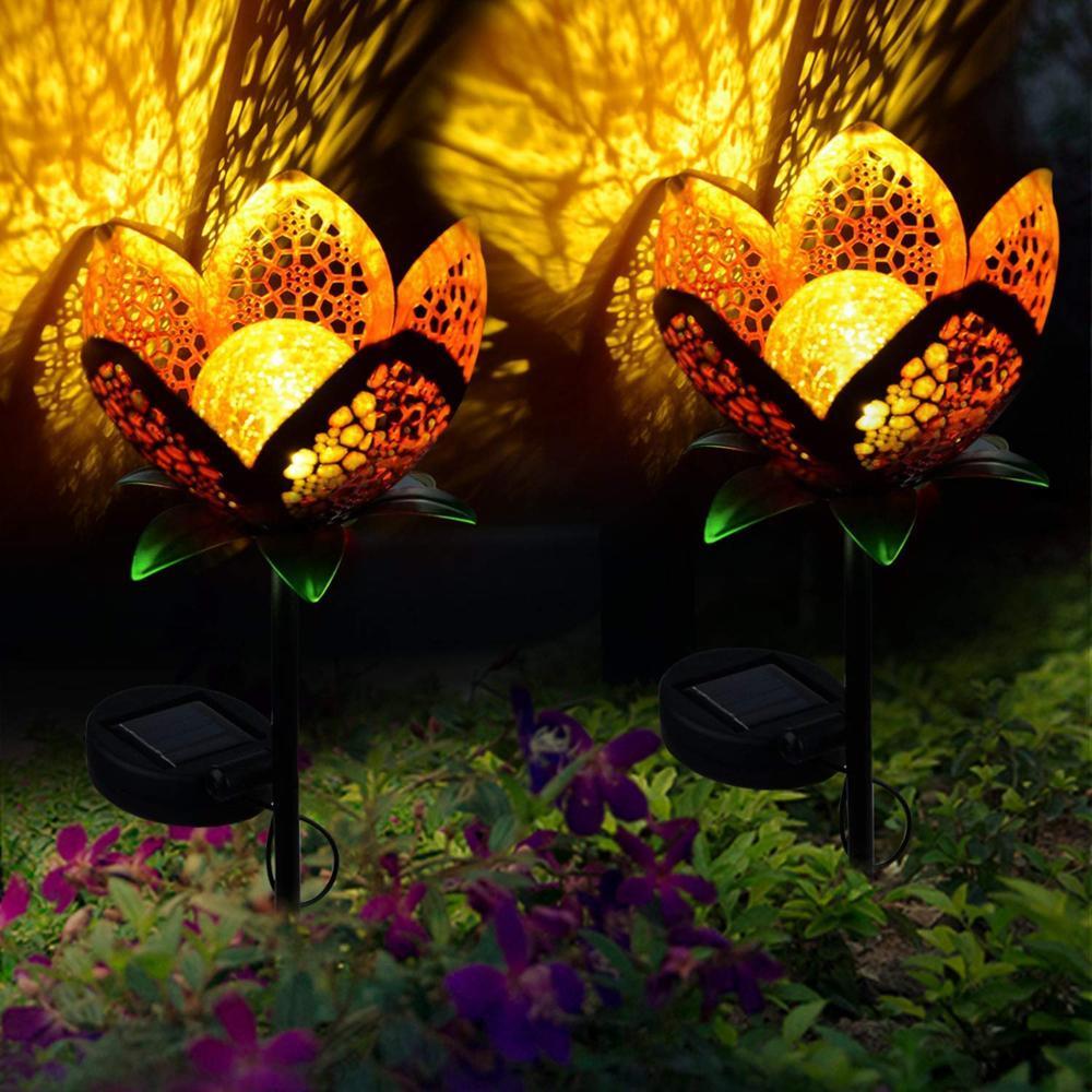 Luzes da festa de casamento 2pcs iluminação exterior levou luz solar à prova d'água Solar Powered Lâmpada para decoração de jardim Xmas Quintal rua