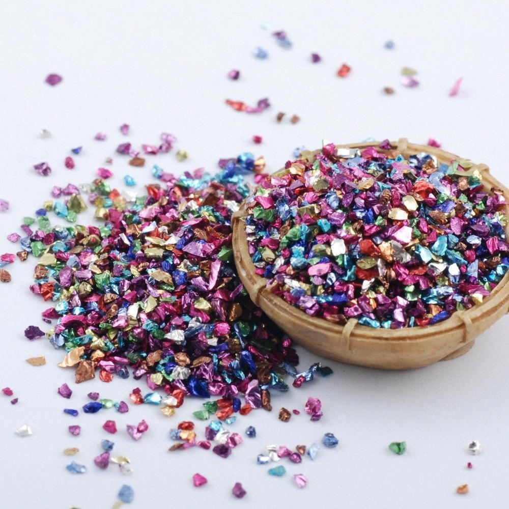 DIY Nail Art Dekorasyon g7aG # için 450Gram 3D Kırık Cam Tırnak Takı Moda Charm Tırnak Taşları Küçük Çakıl Glitter Rhinestone