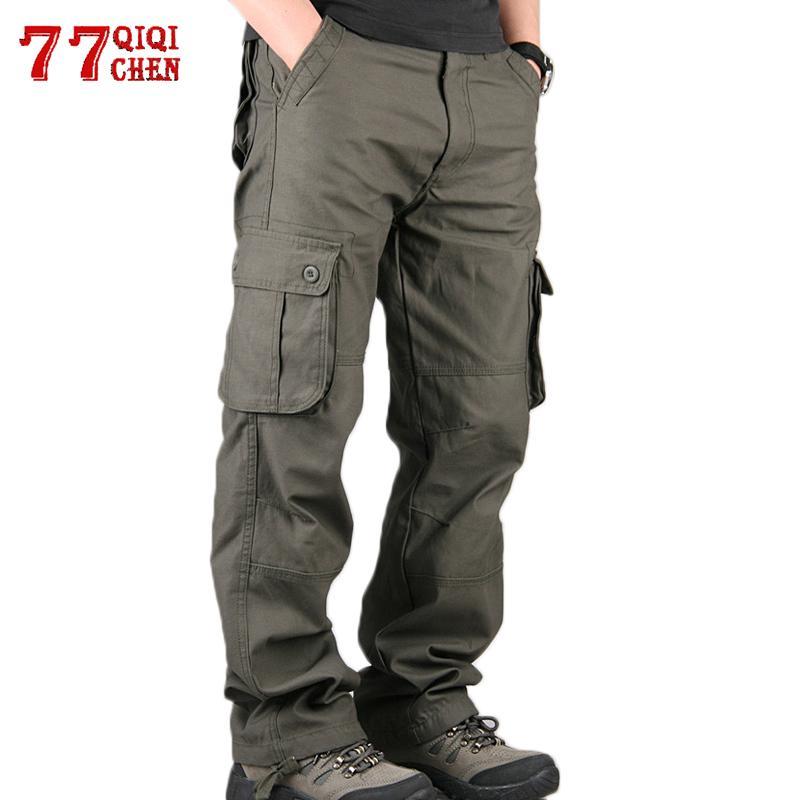 Carga calças casuais multi Pockets tamanho Militar Além disso Corredores táticos Pants Exército male solto Calças 100% algodão Pant 200925