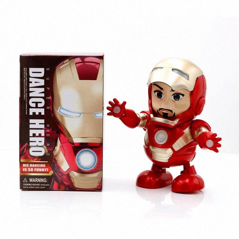 Dança Dança herói Homem de Ferro boneca brinquedos 20CM Iron Man boneca brinquedos elétricos Toy Som LED dança do robô Toy KKA7285 ZDSu #