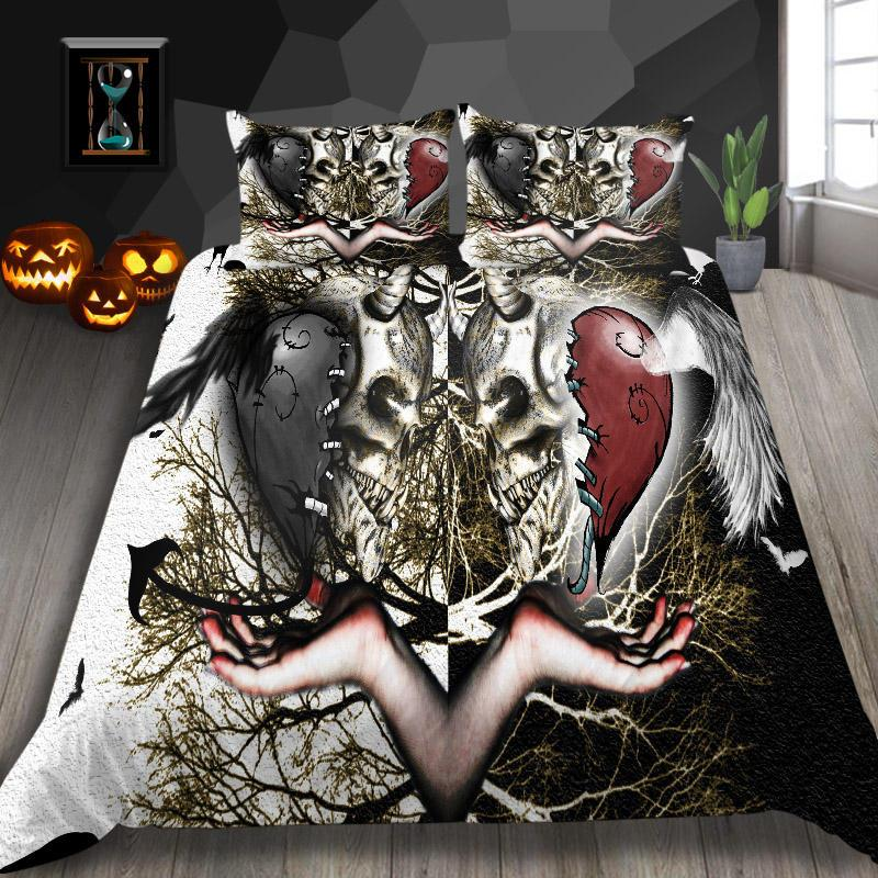 3D Bedding Sets Lover Skull Printed Duvet Quilt Creative Soft Breathable Cover Set Twin Full Queen King Double Super King Bedroom Decort
