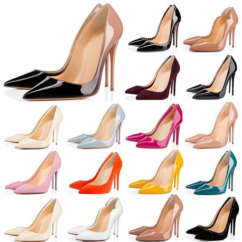 2020 Las mujeres de 8 cm 10 cm 12 cm rojo de moda los zapatos de tacón inferiores blancas negras amarillas rosadas zapatillas de deporte azules informal des Chaussures tamaño 36-42